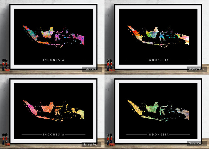 Indonesia Map: Country Map of Indonesia - Sunset Series Art Print