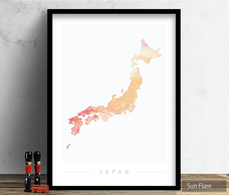 Japan Map: Country Map of Japan  - Nature Series Art Print