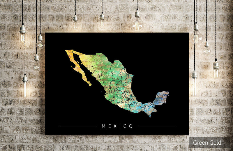 Mexico Map: Country Map of the Mexico - Sunset Series Art Print