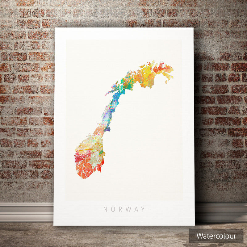 Norway Map: Country Map of the Norway - Sunset Series Art Print