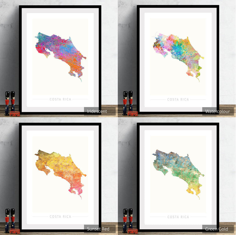 Costa Rica Map: Country Map of Costa Rica - Sunset Series Art Print