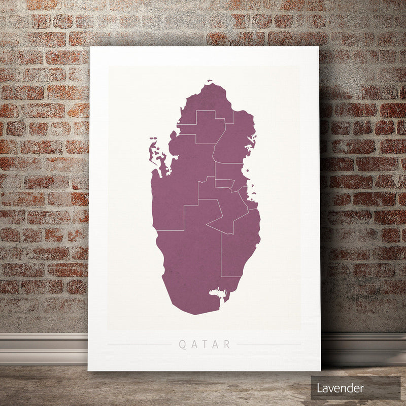 Qatar Map: Country Map of Qatar - Colour Series Art Print