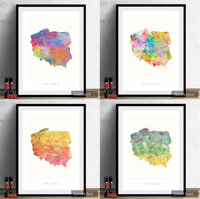 Poland Map: Country Map of Poland - Sunset Series Art Print