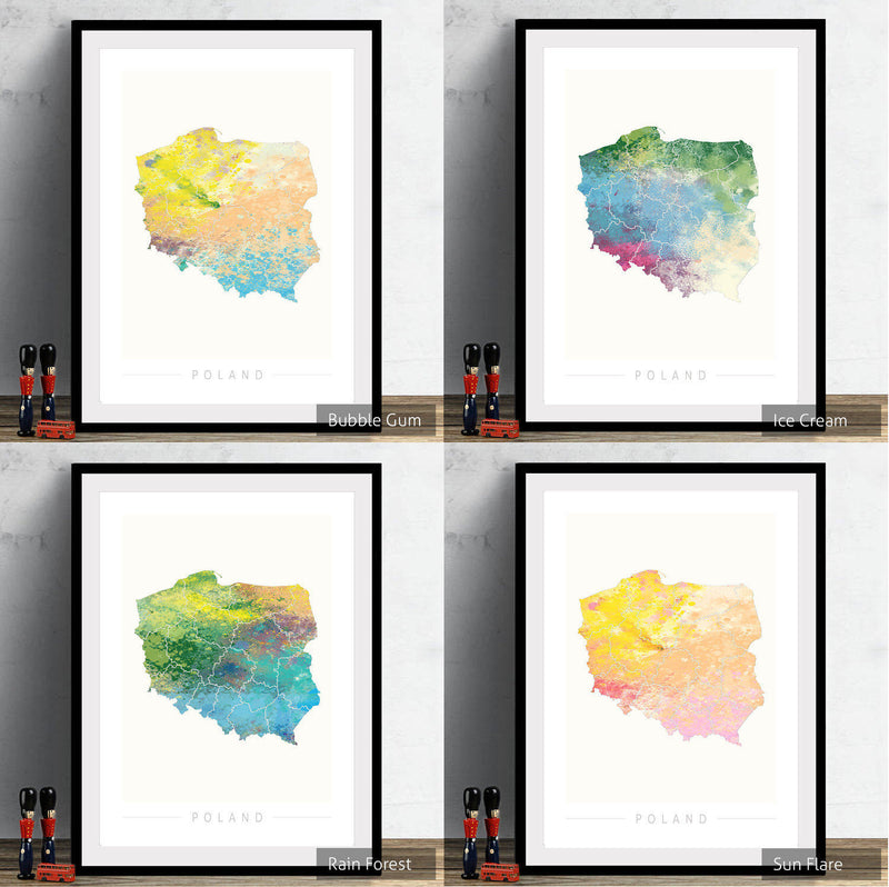 Poland Map: Country Map of Poland - Nature Series Art Print