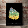 Uruguay Map: Country Map of Uruguay - Sunset Series Art Print