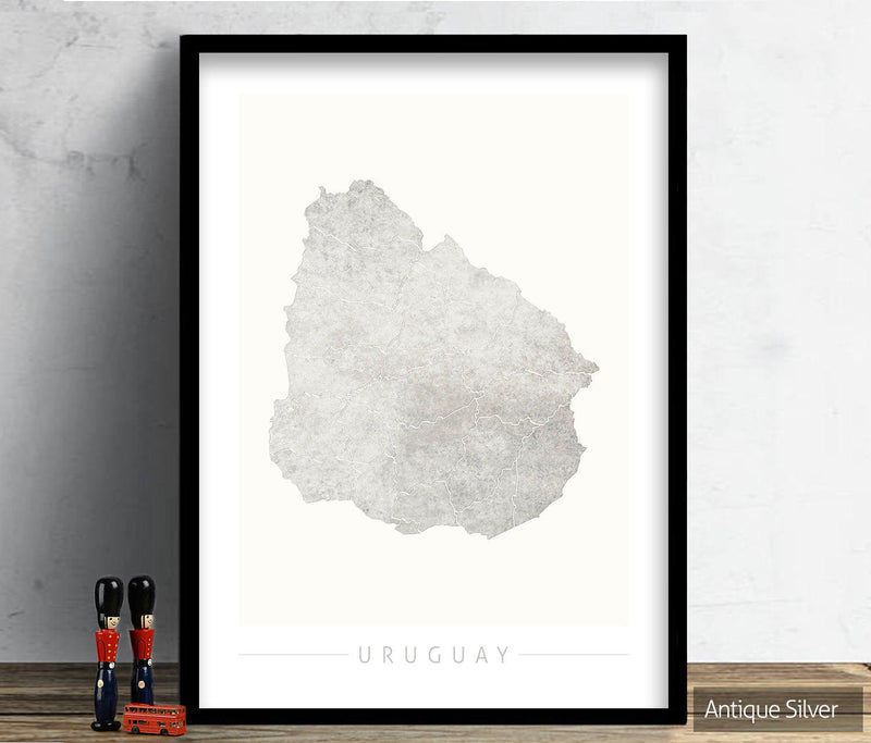 Uruguay Map: Country Map of Uruguay - Colour Series Art Print
