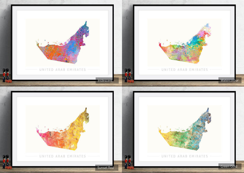 United Arab Emirates Map: Country Map: Sunset Series Art Print
