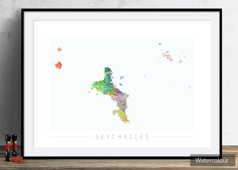 Seychelles Map: Country Map of Seychelles - Sunset Series Art Print