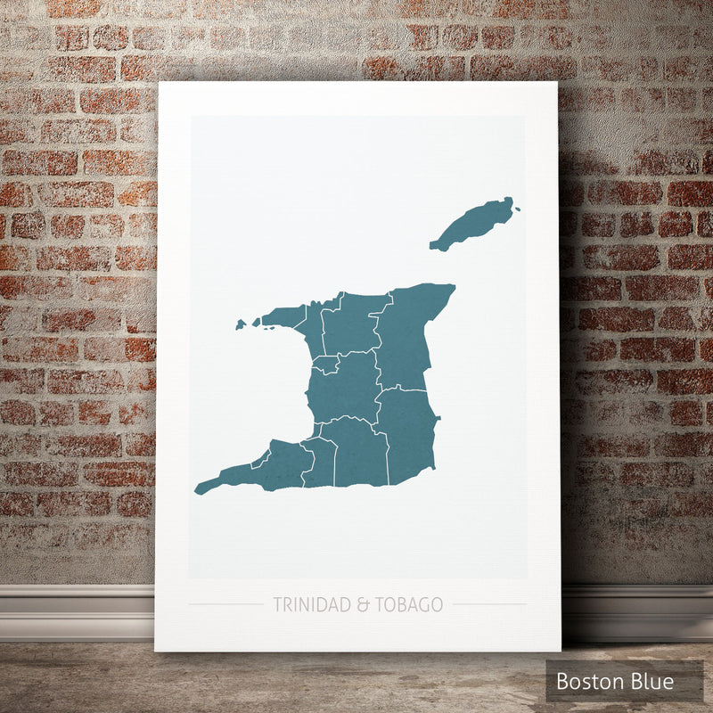 Trinidad and Tobago Map: Country Map of Trinidad and Tobago - Colour Series Art Print