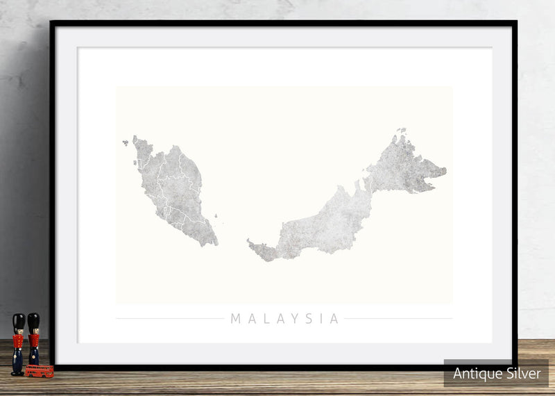 Malaysia Map: Country Map of Malaysia - Colour Series Art Print
