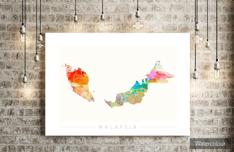 Malaysia Map: Country Map of Malaysia - Sunset Series Art Print