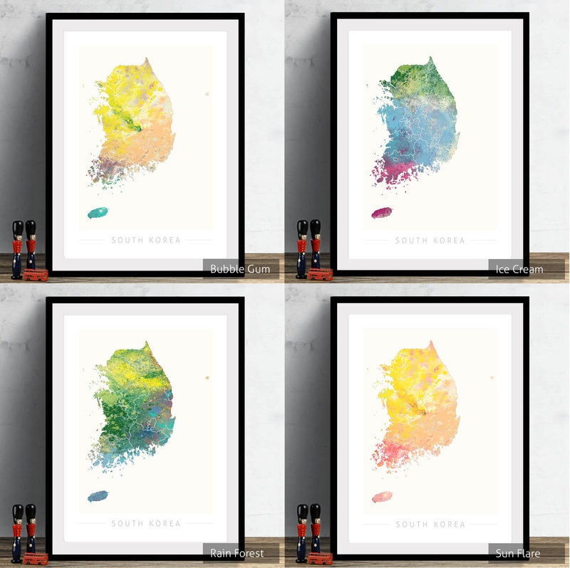 South Korea Map: Country Map of South Korea - Nature Series Art Print