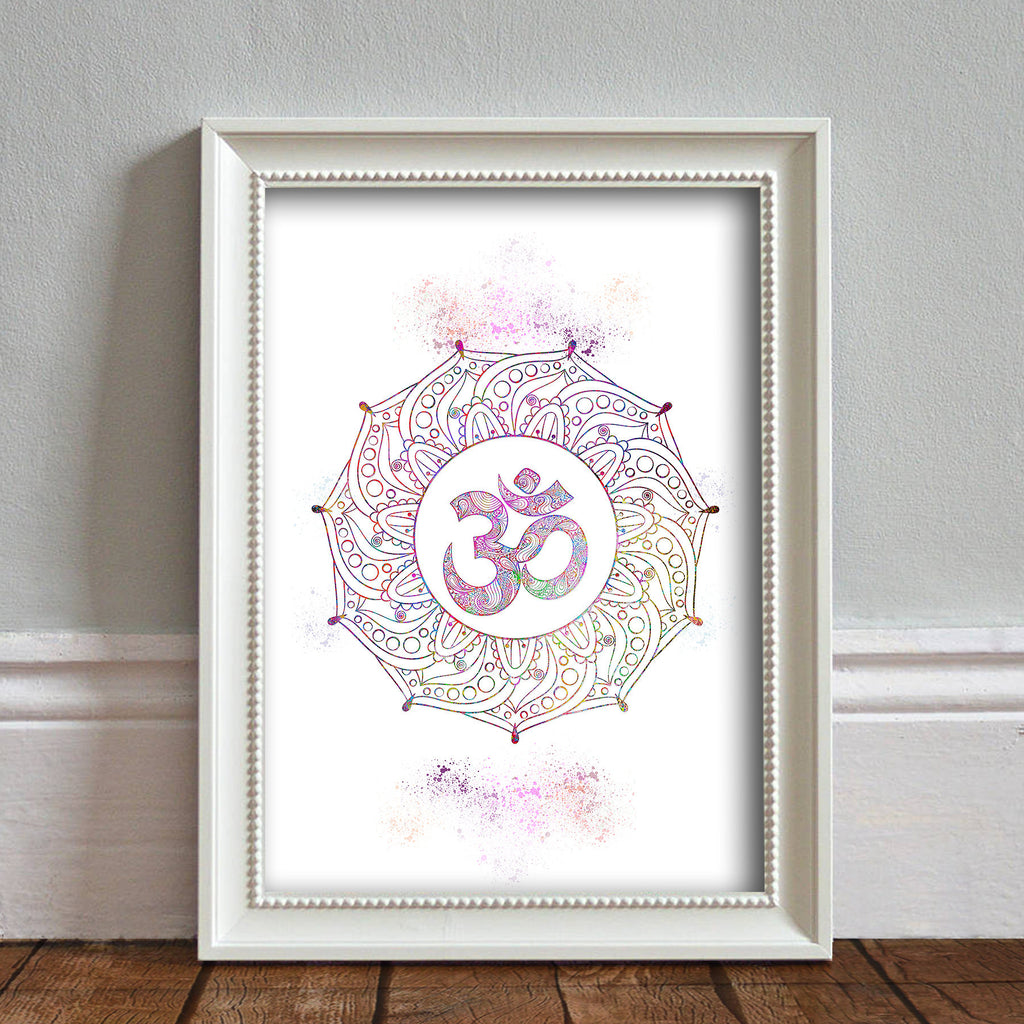 Ohm Symbo, Yoga: Watercolour Print For Nursery, Home Decor - Spritiual Series