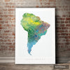 South America Map: Continental Map of South America - Nature Series Art Print