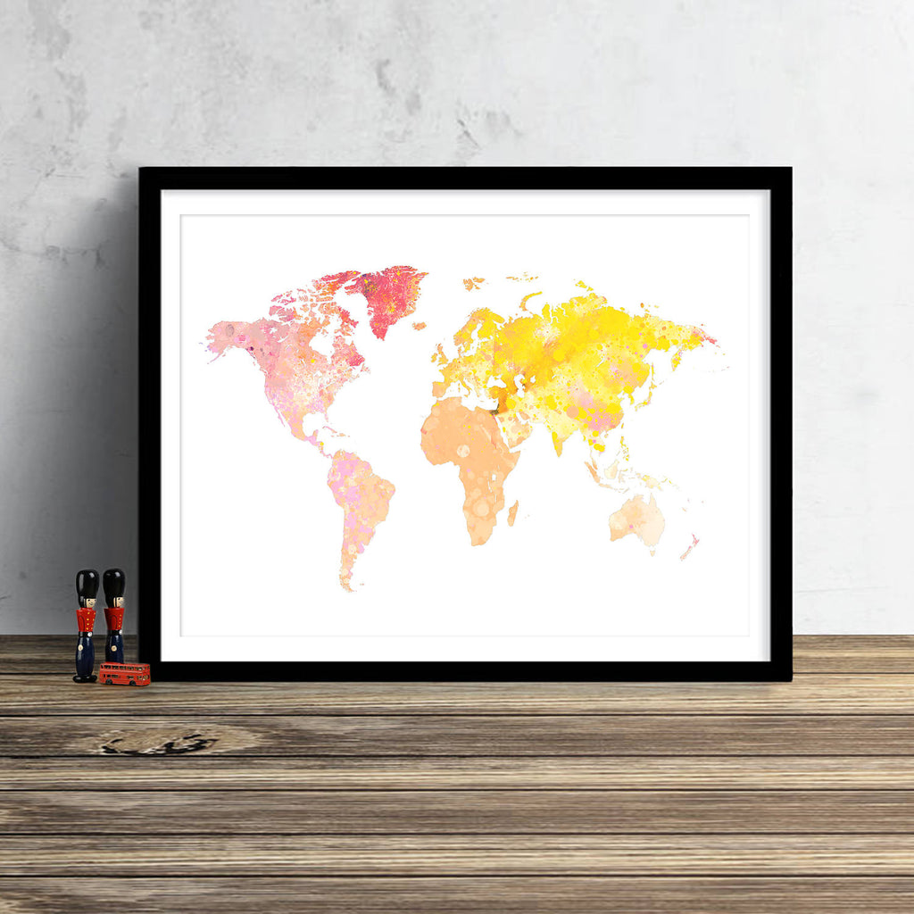 World Map: Watercolor Illustration Wall Art - Sun Flare Theme