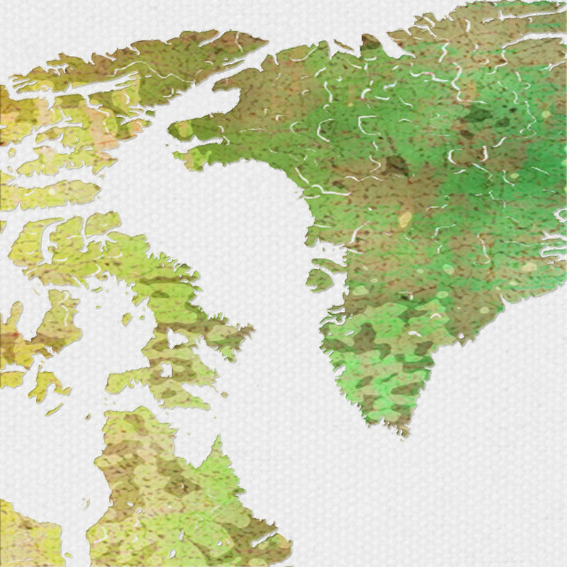 World Map: Watercolor Illustration Wall Art - Green Gold Theme