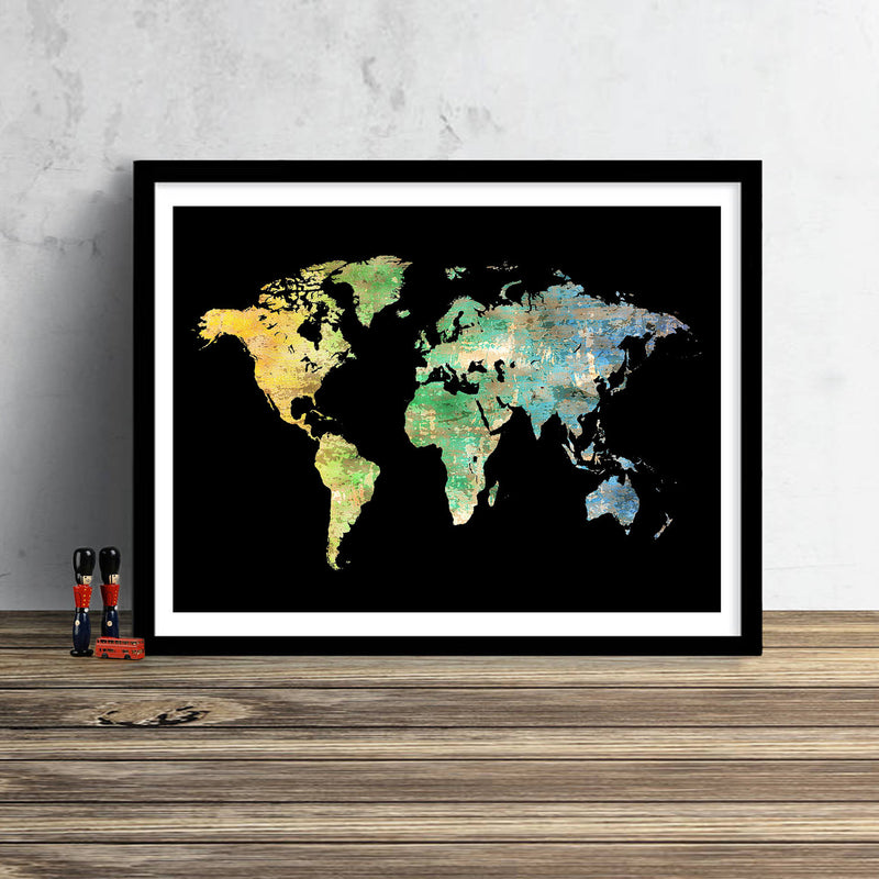 World Map: Watercolor Illustration Wall Art - Green Gold Black Theme