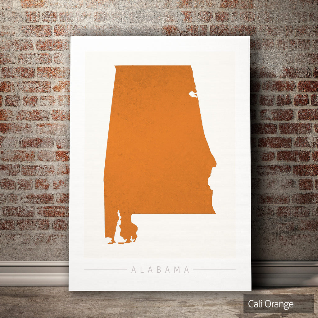 Alabama Map: State Map of Alabama - Colour Series Art Print