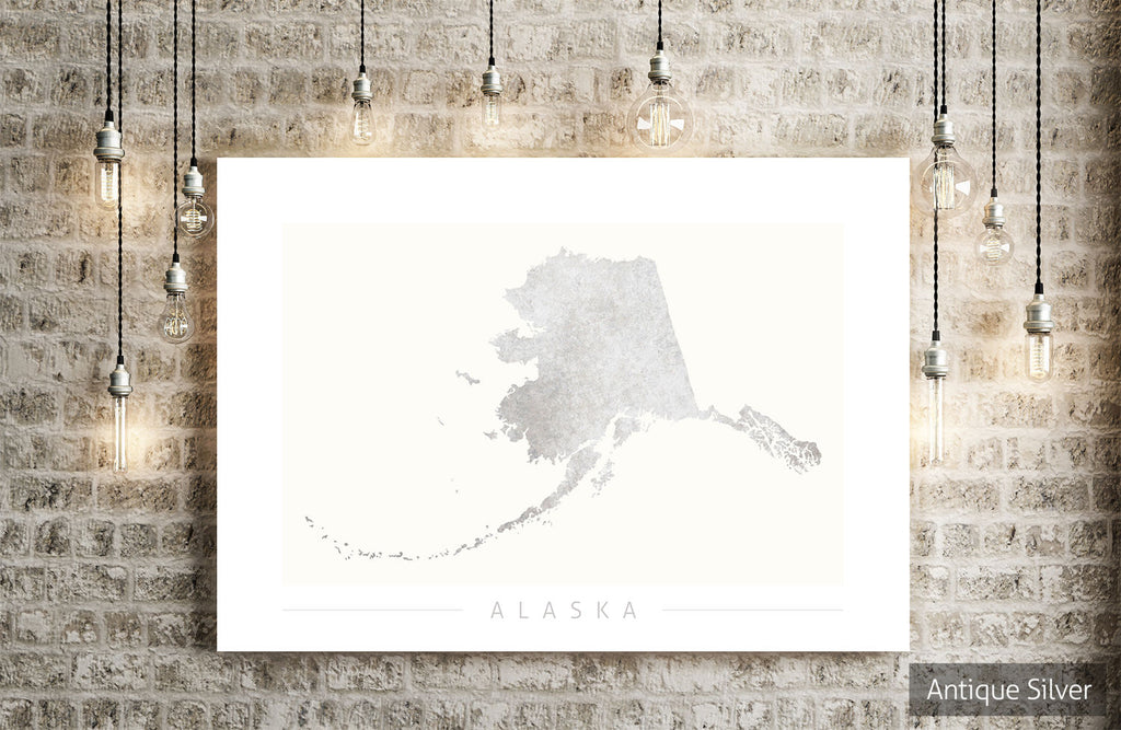 Alaska Map: State Map of Alaska - Colour Series Art Print