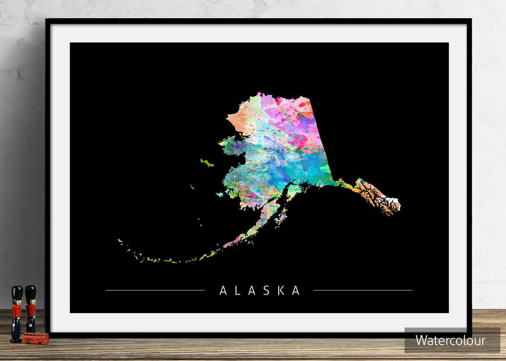 Alaska Map: State Map of Alaska - Sunset Series Art Print