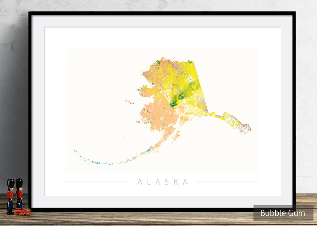 Alaska Map: State Map of Alaska - Nature Series Art Print