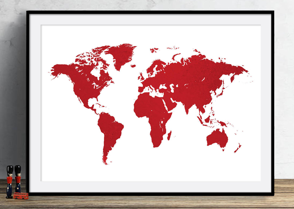 World Map: Watercolor Illustration Wall Art - Colour Series Art Print