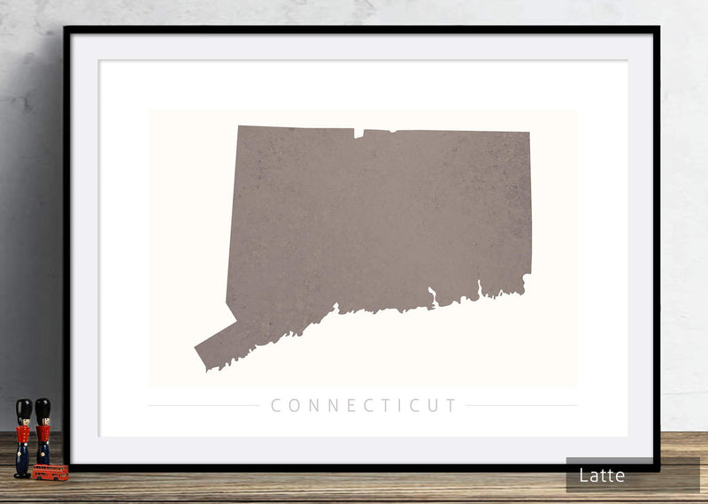 Connecticut Map: State Map of Connecticut - Colour Series Art Print