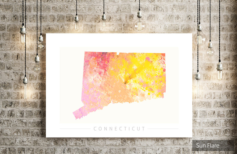 Connecticut  Map: State Map of Connecticut - Nature Series Art Print