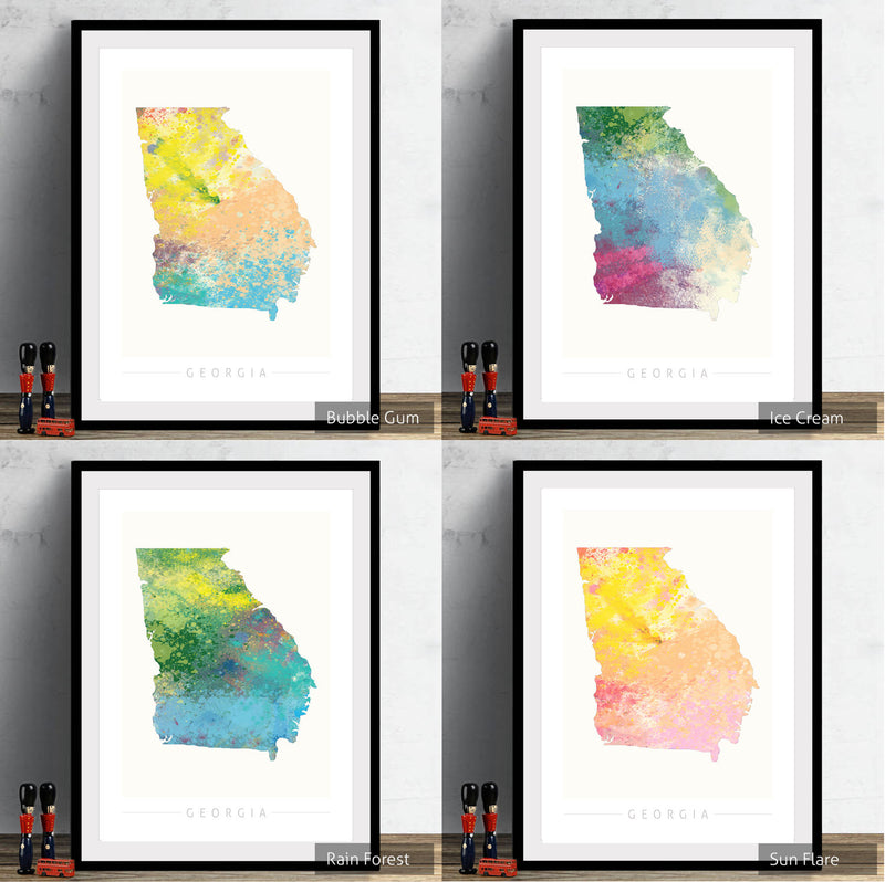 Georgia Map: State Map of Georgia - Nature Series Art Print