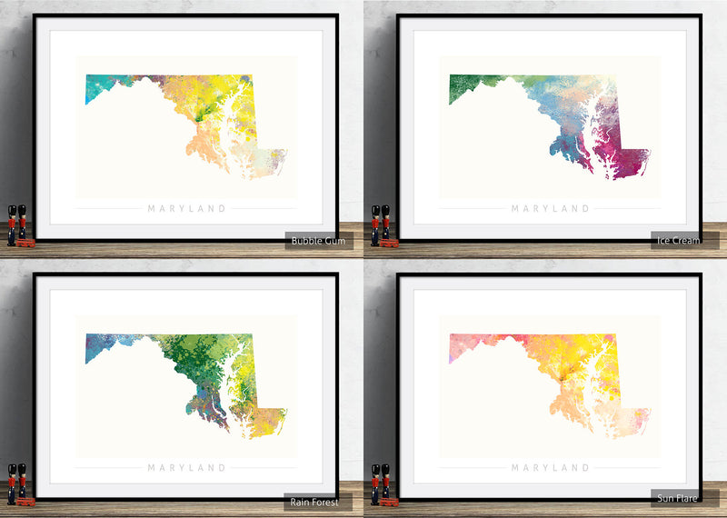 Maryland Map: State Map of Maryland - Nature Series Art Print