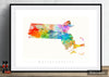 Massachusetts Map: State Map of Massachusetts - Sunset Series Art Print