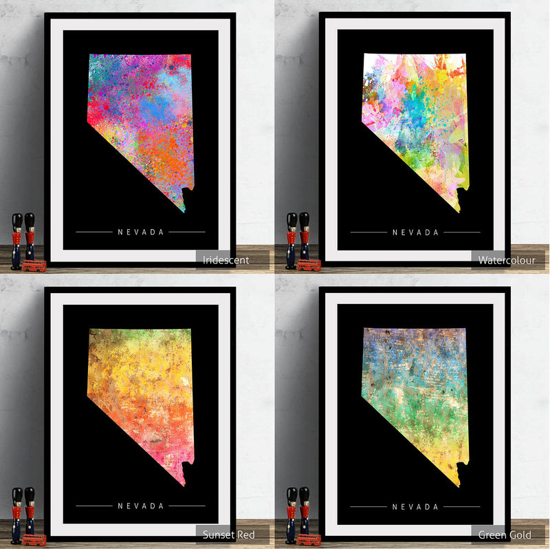 Nevada Map: State Map of Nevada - Sunset Series Art Print