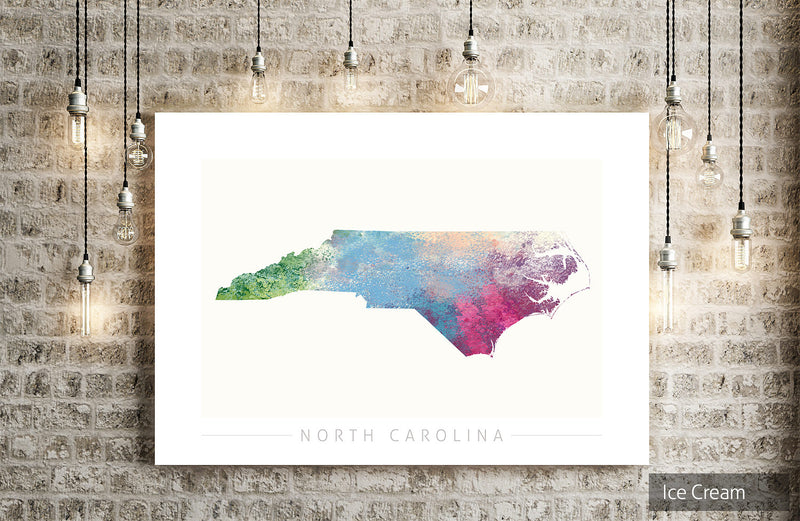 North Carolina Map: State Map of North Carolina - Nature Series Art Print