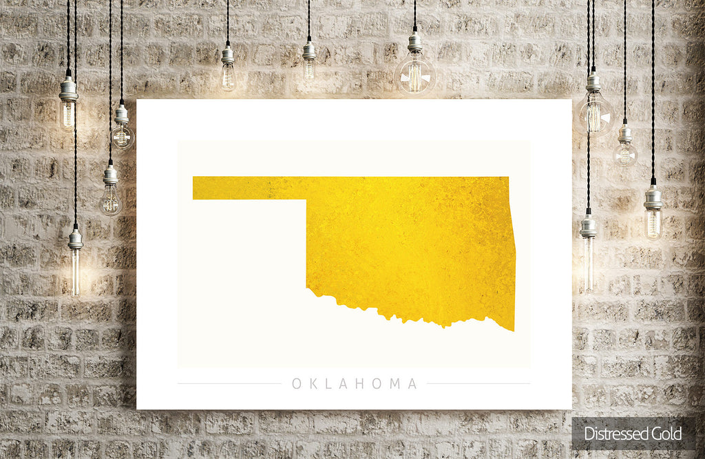 Oklahoma Map: State Map of Oklahoma - Colour Series Art Print