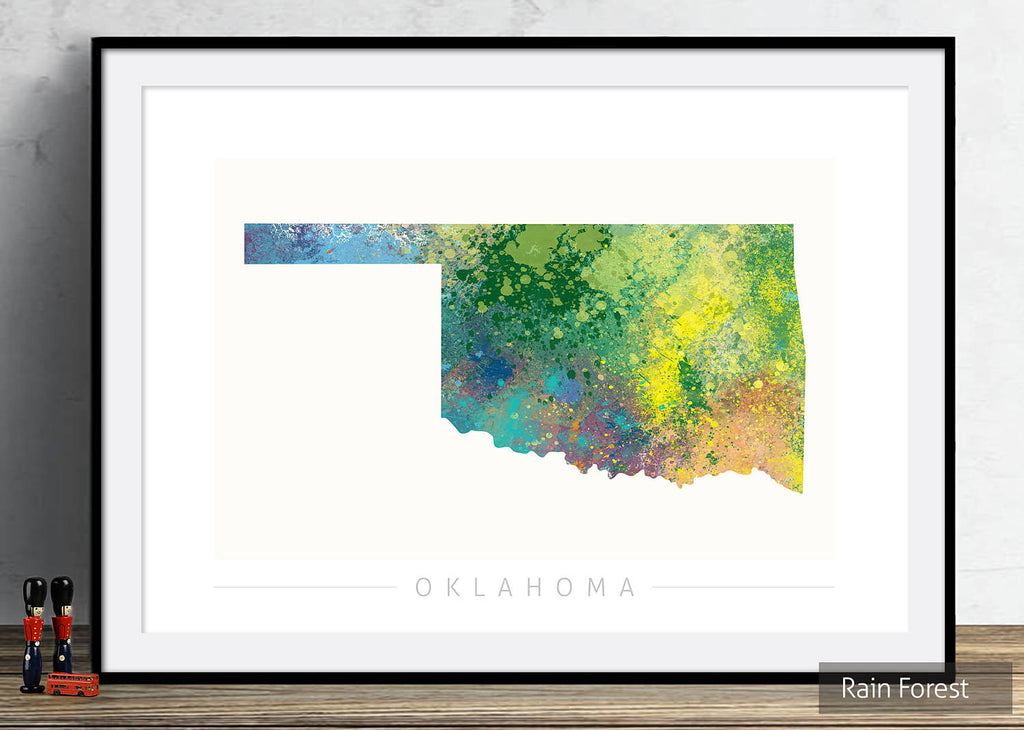 Oklahoma Map: State Map of Oklahoma - Nature Series Art Print
