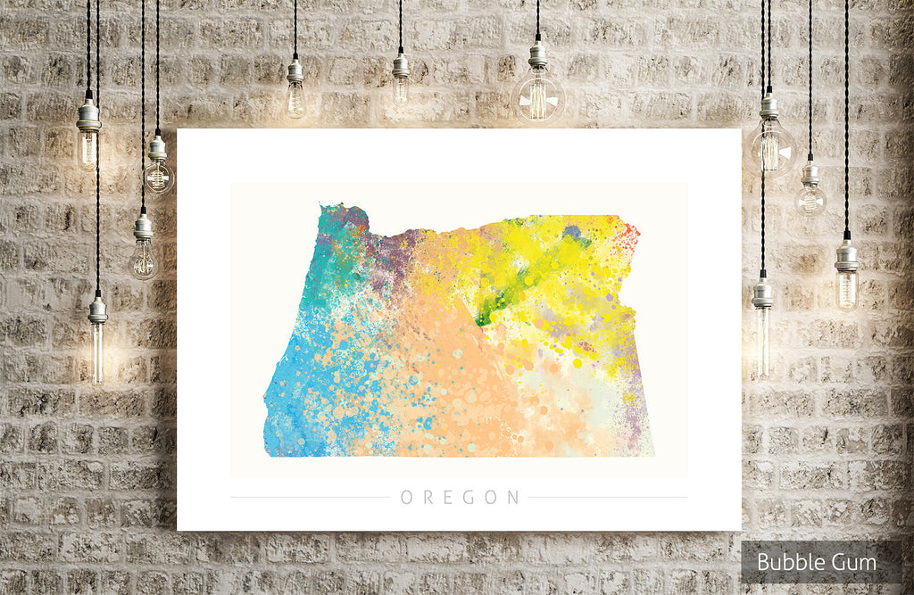 Oregon Map: State Map of Oregon - Nature Series Art Print