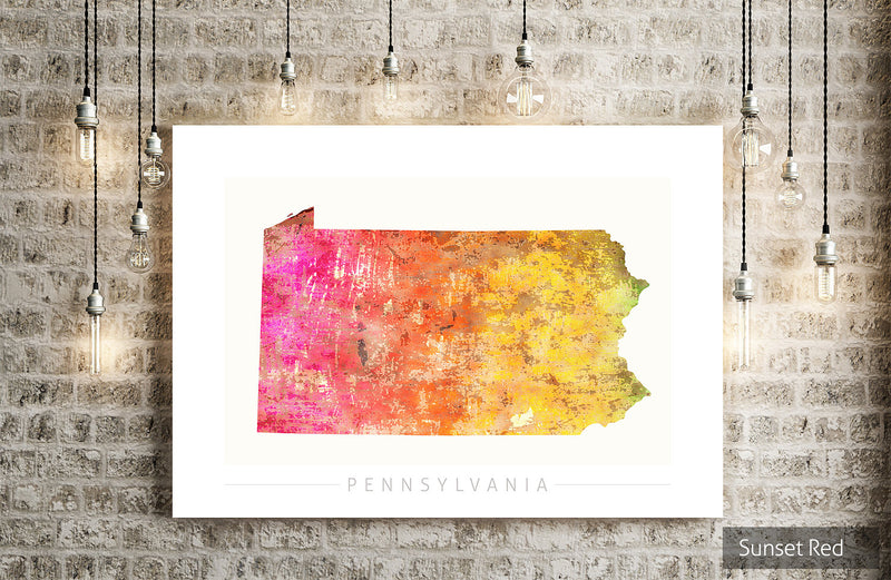 Pennsylvania Map: State Map of Pennsylvania - Sunset Series Art Print
