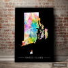Rhode Island Map: State Map of Rhode Island - Sunset Series Art Print