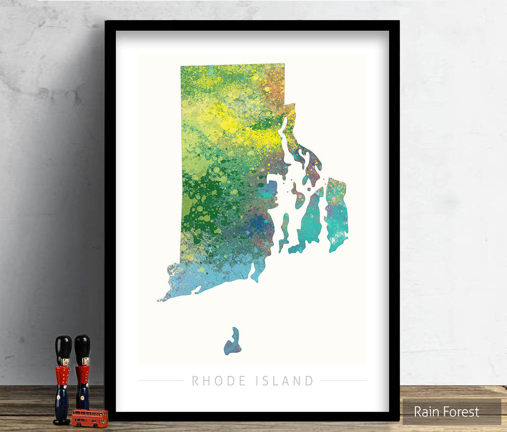 Rhode Island Map: State Map of Rhode Island - Nature Series Art Print