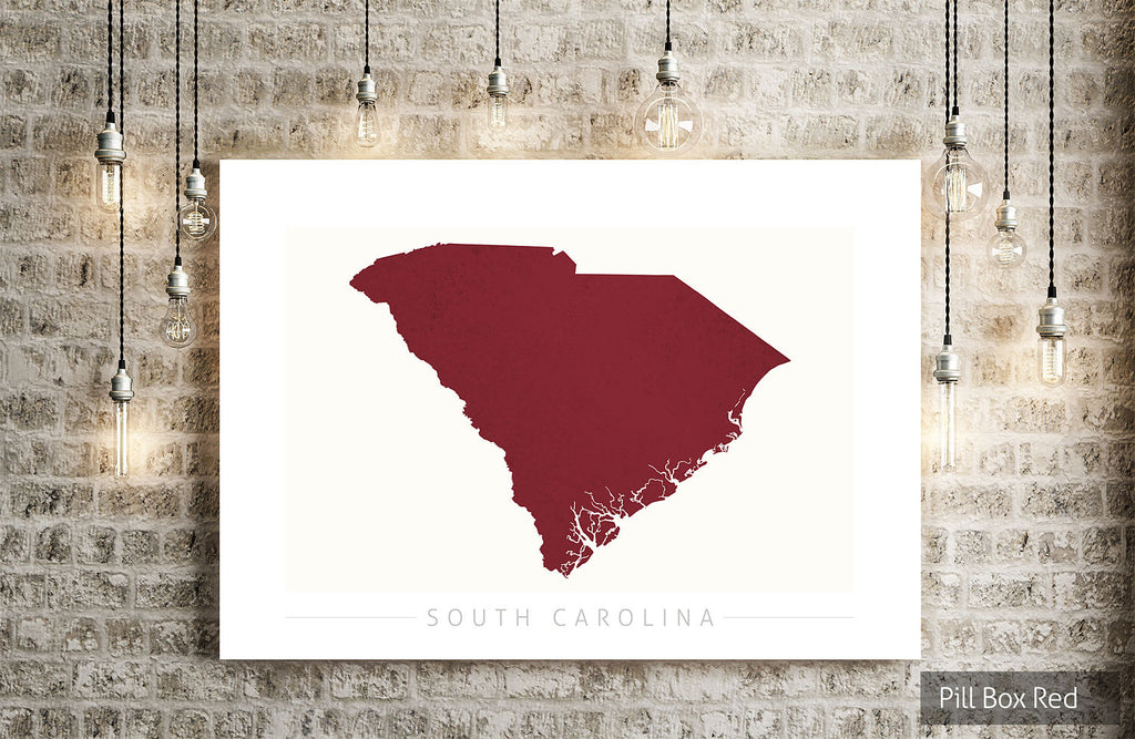 South Carolina Map: State Map of South Carolina - Colour Series Art Print