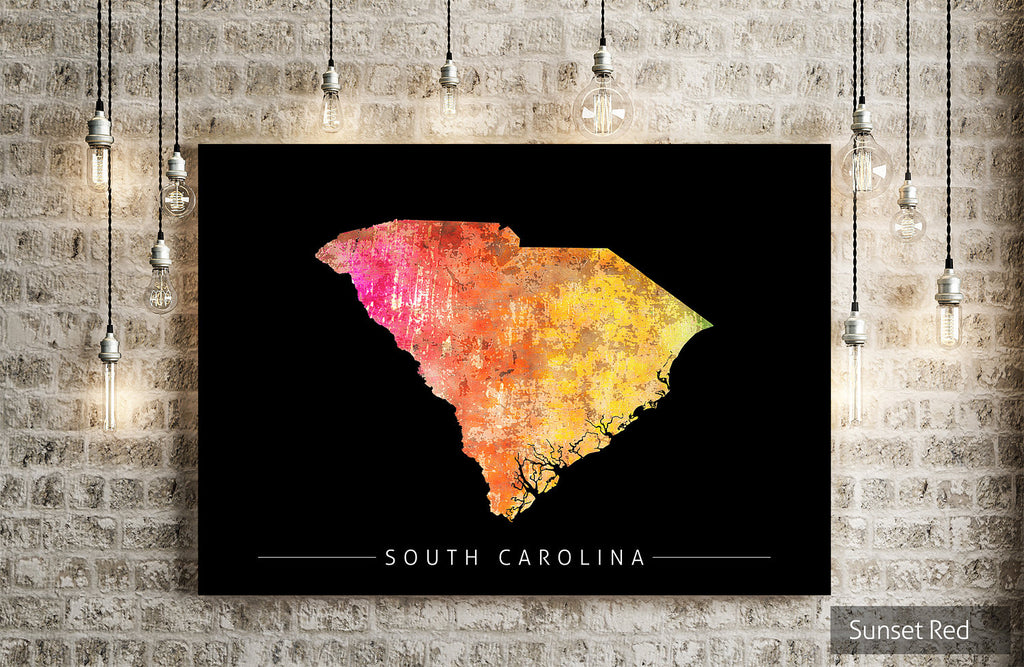 South Carolina Map: State Map of South Carolina - Sunset Series Art Print