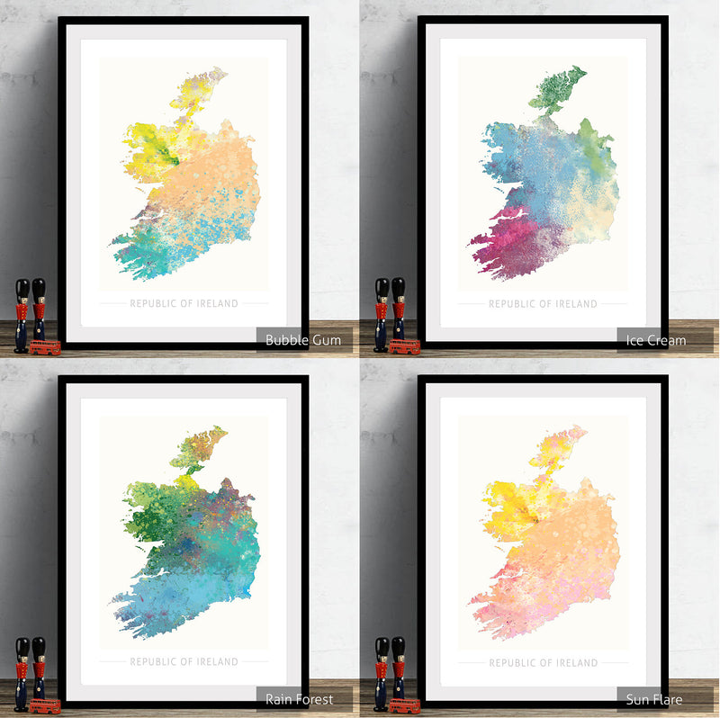 Republic of Ireland Map: Country Map  - Nature Series Art Print