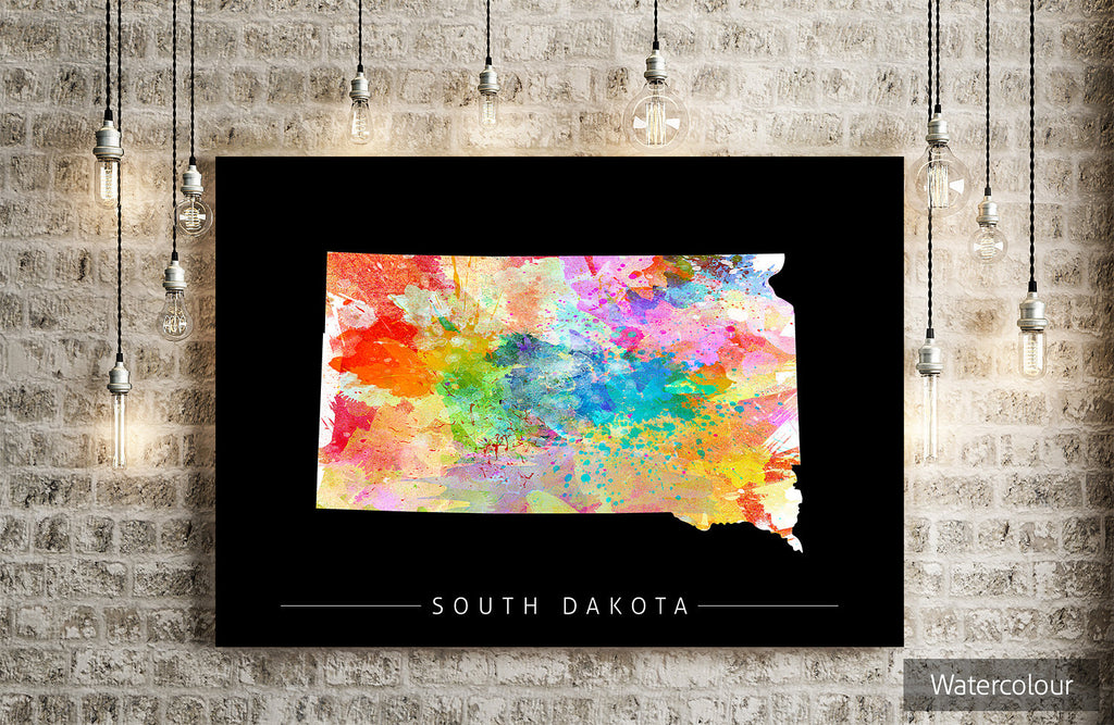 South Dakota Map: State Map of South Dakota - Sunset Series Art Print