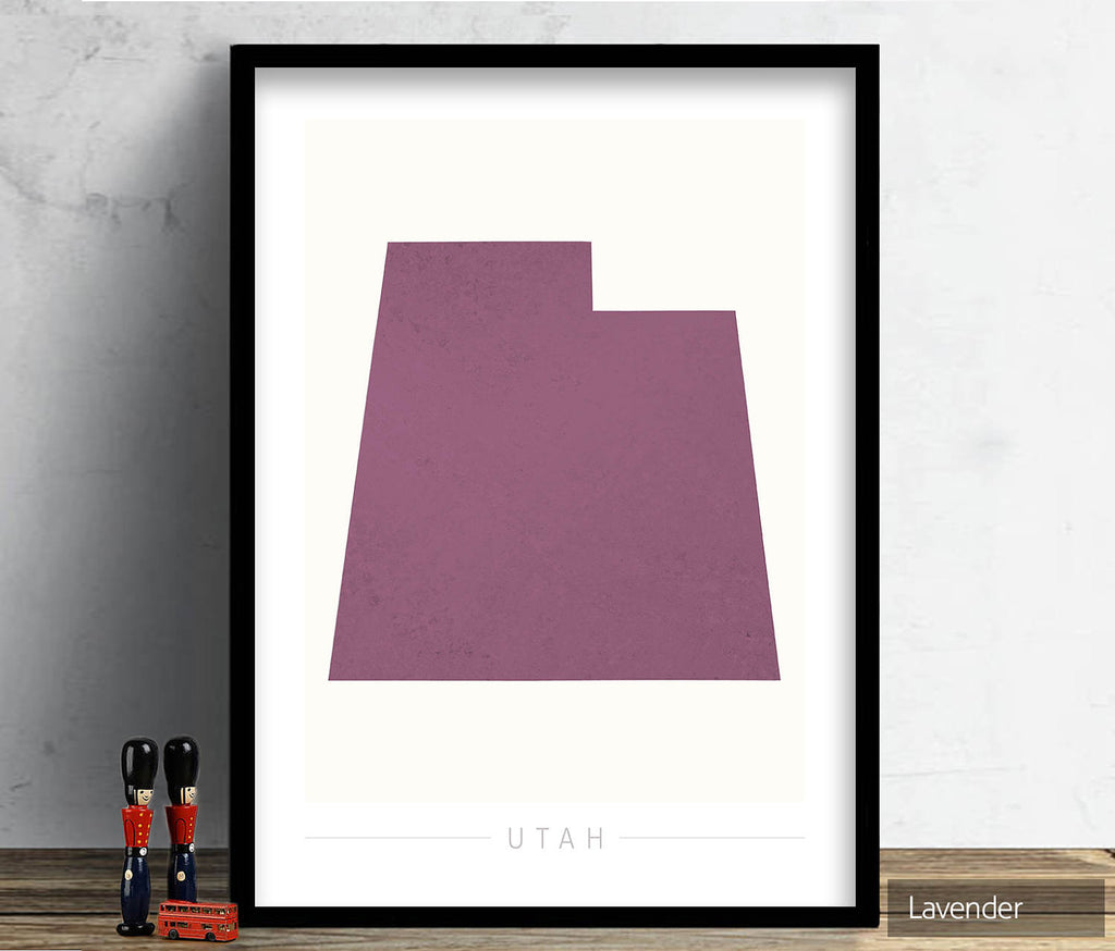 Utah Map: State Map of Utah - Colour Series Art Print