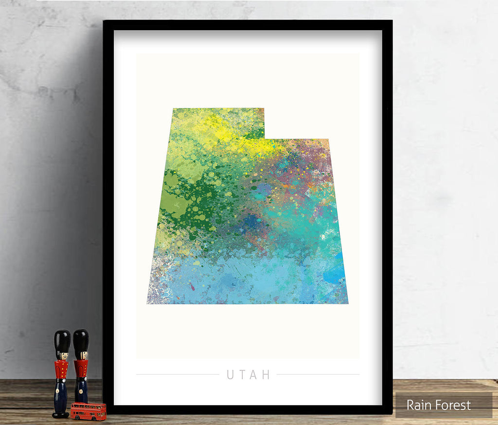 Utah Map: State Map of Utah - Nature Series Art Print
