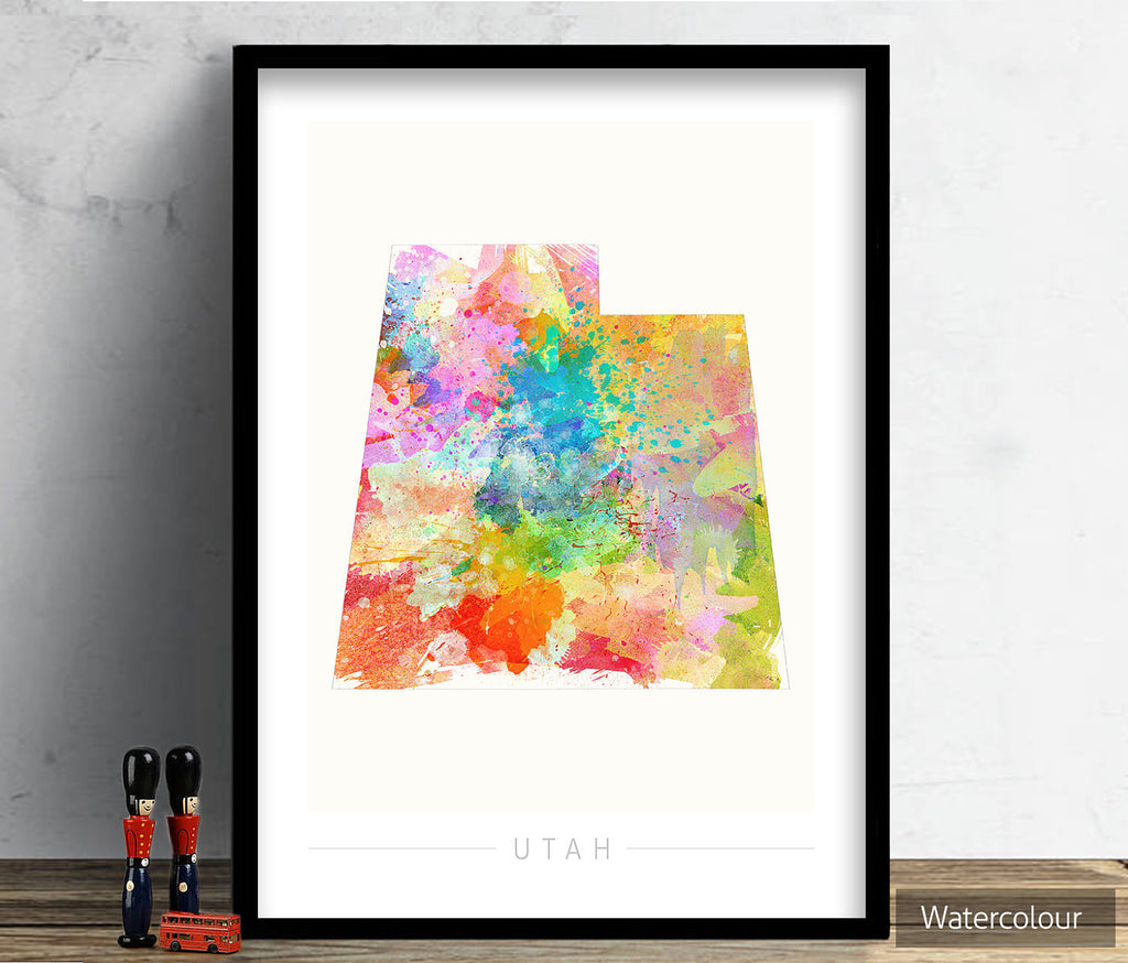 Utah Map: State Map of Utah - Sunset Series Art Print