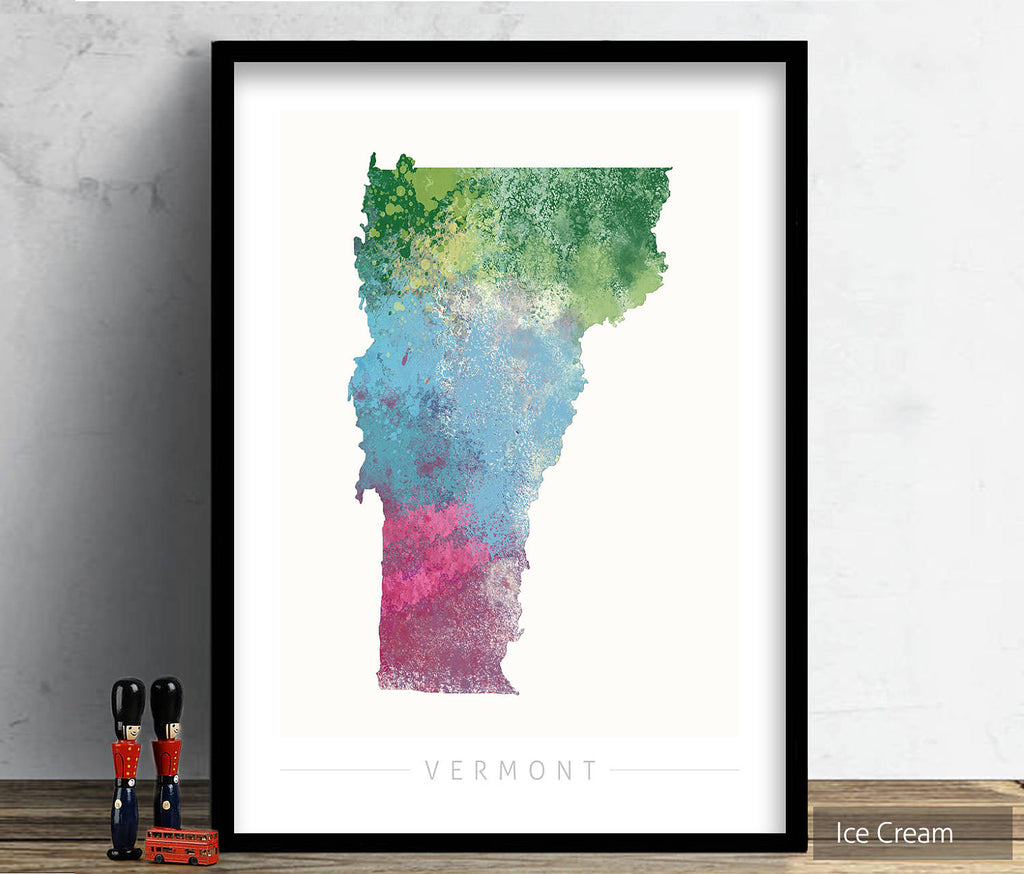 Vermont Map: State Map of Vermont - Nature Series Art Print
