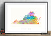 Virginia Map: State Map of Virginia - Sunset Series Art Print