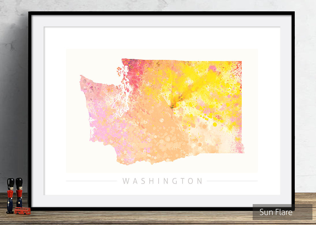 Washington Map: State Map of Washington DC - Nature Series Art Print