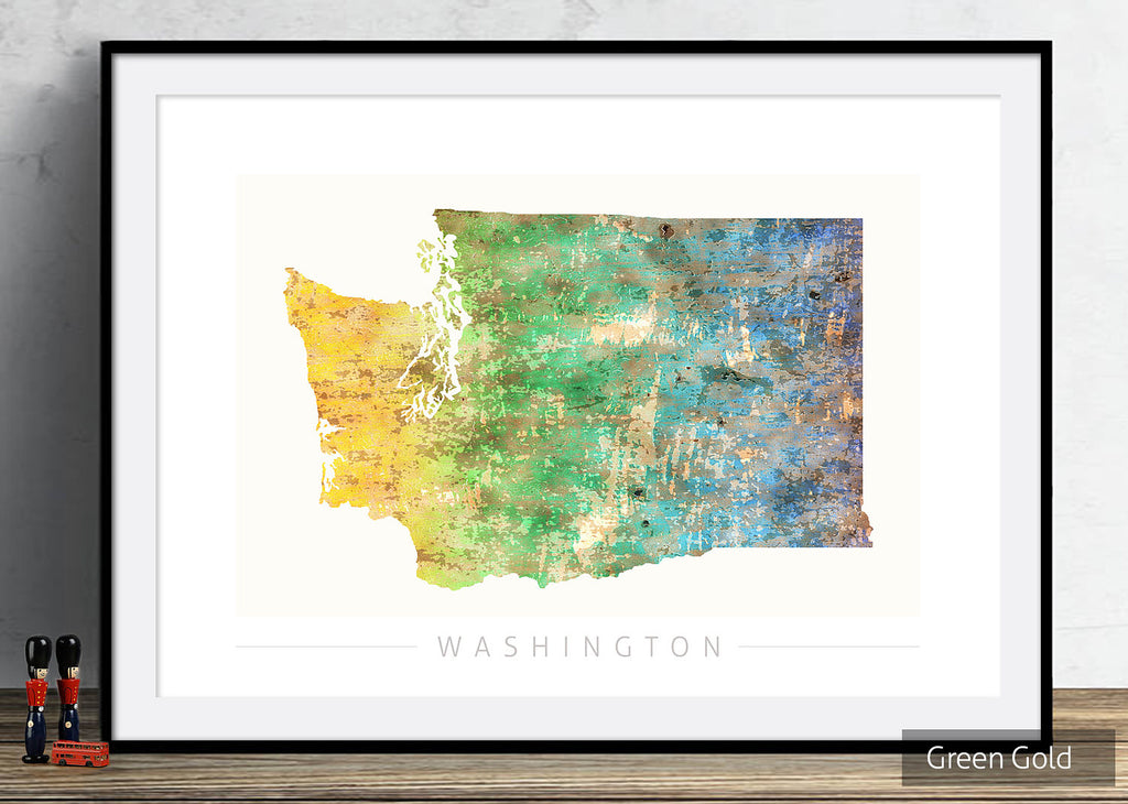 Washington Map: State Map of Washington DC - Sunset Series Art Print